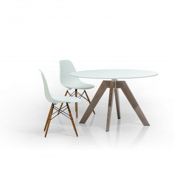 Esstisch rund, Platte HPL, Gestell Massivholz