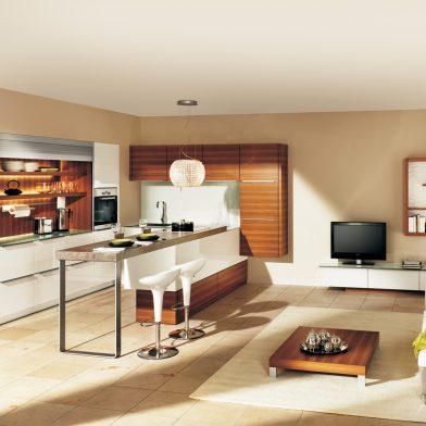 moderne Küche Cambia in Lack und Holz