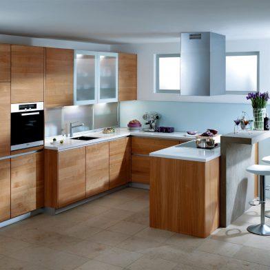 moderne Küche Pisa, Kirschaum massiv, geölt