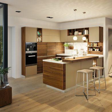 moderne Küche Team 7 Linee, Nußbaum massiv, geölt