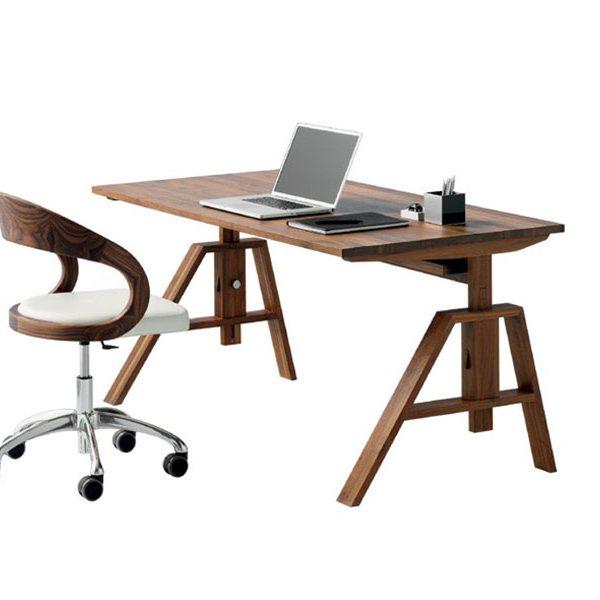Schreibtisch, Massivholz, höhenverstellbar