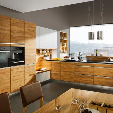 moderne Küche Team 7 Linee, Kernbuche massiv, geölt